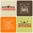 Vintage styled Thanksgiving Cards — Stock Vector