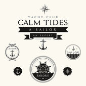 Collection of Vintage Nautical Badges and Labels — Stock Photo