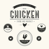 Set of chicken farm and market labels — Stock Photo