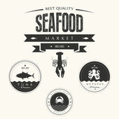Set of vintage seafood labels, badges and design elements — Stock Photo