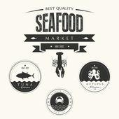 Set of vintage seafood labels, badges and design elements — Stock Photo