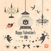 Decorative valentines day design elements — 图库照片