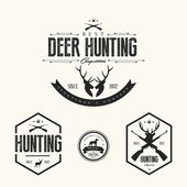 Set of vintage hunting labels and badges — Stock Vector