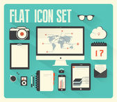 Flat icon set for Web and Mobile Application — Stock Vector