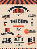 BBQ Grill elements and labels — Stock Vector