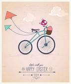 Birdy riding bike Easter greeting card — Stock Vector