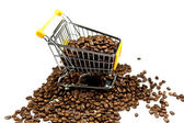 Beans of coffeed shopping trolly isolated — Stock Photo