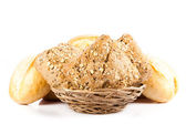 Bun bread isolated on white background — Stock Photo