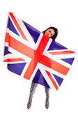 девочка английский флаг, изолированные на белом фоне — Стоковое фото