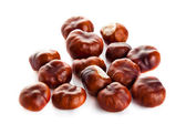 Chestnuts isolated on white background — Stock Photo