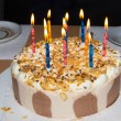 Birthday cake. candles — Stock Photo