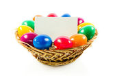 Easter eggs in busket on green gras isolated — Zdjęcie stockowe