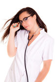 Medical doctor woman iIsolated on white background phonendoscope — Stock Photo