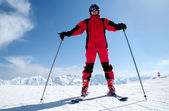 Male skier at Solden ski resort — Stock Photo