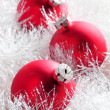 Red christmas baubles — ストック写真