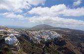 Fira panorama with caldera view and Nea Kameni, Santorini, Greece — Stockfoto