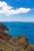 Santorini panorama with caldera view and Nea Kameni, Santorini, Greece — Stockfoto