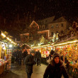 Foto Stock: Snow Storm at Esslingen Christmas Market