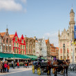 Colorful Buildings and a Horse Carriage — 图库照片