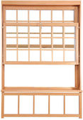 Wood Double Hung Windows. Double-hung window parts. — Stock Photo
