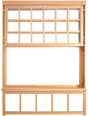 Double-hung window parts. Wood Double Hung Windows. — Stock Photo