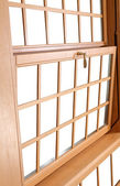 Wood Double Hung Windows, traditional American Window. — Stock Photo