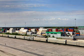 Container terminal and freight train. — Stock Photo