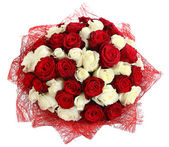 Floristic arrangement of white and red roses. Floral compositions of red and white roses. The isolated image on a white background. — Stock Photo