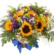 Floral arrangement of sunflowers, daisies, ferns and goldenrod. Flower composition — Stock Photo #28113185