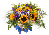Floral arrangement of sunflowers, daisies, ferns and goldenrod. Flower composition — Stock Photo