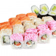 Illustration for a menu in a restaurant of Japanese cuisine, Japanese cuisine from rice and seafood Assorted set of rolls, philadelphia, white california, roll with avocado, Alaska. Isolated on white — Stock Photo