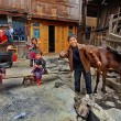 Asian family peasant farmers in rural areas of southwestern China — Stock Photo