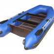 Blue inflatable boat with oars, plywood deck and seats. — Stock Photo #35945211