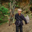 Old Man Asian, with bunch fagots, goes on mountain trail. — Stock Photo