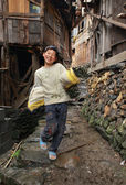 East asia, rural teenager boy 12 years old, Chinese village. — Stock Photo