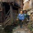 Asian Rural, Peasant, Farmer, Kids Teens Walk Around Chinese Village. — Stock Photo