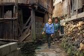 Asian Rural, Peasant, Farmer, Kids Teens Walk Around Chinese Village. — Stock Photo
