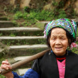 Stock Photo: Asielderly Chinese womfarmer peasant with hoe on shoulder.
