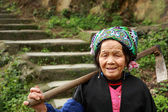 Asian elderly Chinese woman farmer peasant with hoe on shoulder. — Stock Photo