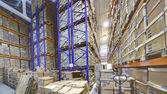 Interior storage warehouse, stacked shelving shelves with cardboard boxes. — Stock Photo