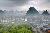 Cityscape in Southeast Asia, Yangshuo town, top view, karst hill — Stock Photo