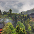 Rural landscape in the highlands of China, farmhouses ethnic village — Stock Photo