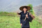 Man asian peasant shepherd in Chinese hat and animal skin — Stock Photo