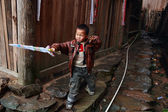 Asian child boy villager about 5 years old, playing outdoors — Stock Photo