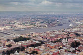Aerial Photography a European city, divided navigable river. — Stock Photo