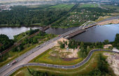 Aerial View Of Motor Bridge Under Construction Beltway St. Petersburg. — Stock Photo