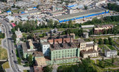 Aerial view of industrial zone city, and old power plant. — Foto Stock