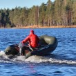 Dark Green, Inflatable Rubber Dinghy Boat With Motor, Forest Lake. — Zdjęcie stockowe
