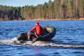 Dark Green, Inflatable Rubber Dinghy Boat With Motor, Forest Lake. — Stock Photo