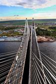 Guyed Bridge Under Construction Across Neva River In St. Petersburg. — Stock Photo